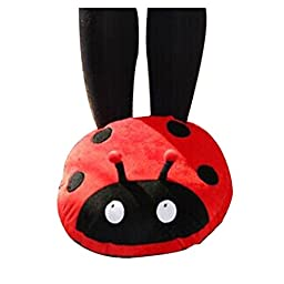 UZZO™New Fashiion Cute Lady Beetle Shape USB Heated Plush Shoes Electric Foot Warmer USB Powered slippers shoes +1*Free Key Ring (Red)