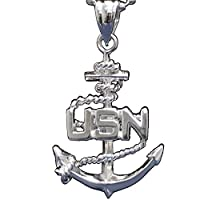 US Navy Necklace & Pendant - Large United States Military Jewelry - USN Chain - With Anchor Medal