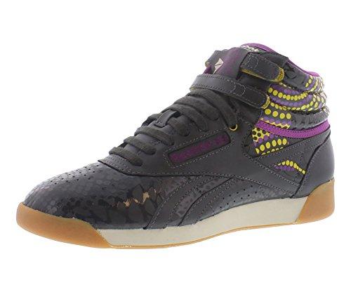 REEBOK Womens Freestyle Hi Alicia Keys Gravel/Green/Aubergine Fashion Athletics shoe Sz: 10