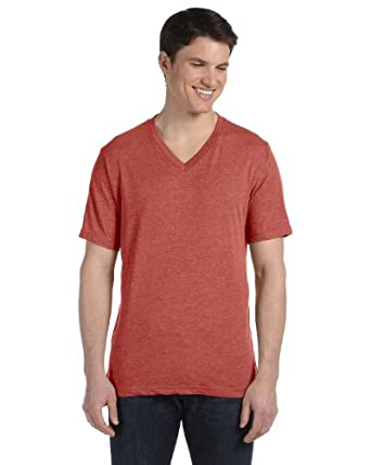 Men's Triblend V-Neck Tee (Clay TriBlend) (Small)