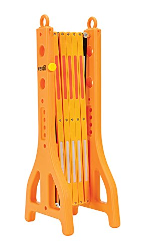 "Vestil PEXGATE-30 Plastic Expand-A-Gate, 38"" Height, 15"" Length, 11-1/2"" Retracted Width, 122"" Extended Width, Yellow - 1"