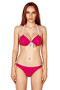 Thinkbay® Womens Lady Sexy 2 PCS Padded Beachwear Halter Top Side-tie Bottom Swimwear Swimsuit Bikini Sets Bathing Suits (Watermelon Red, UK10/EU38/L Cup:36B)