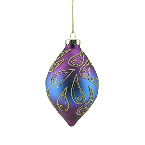 Northlight Regal Peacock Purple Blue and Gold Glittered Glass Finial Christmas Ornament, 5