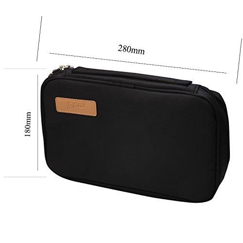 Andux Zone sacchetto cosmetico, Zip Borsa Caso Piazza solido Colore Cosmetic Bag compongono organizzatore HZB-01 nero
