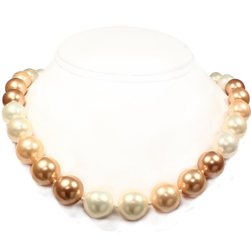 Mother of Pearl Necklace - High Polished White, Cream, Powder Almond, Gold & Bright Gold (14mm)