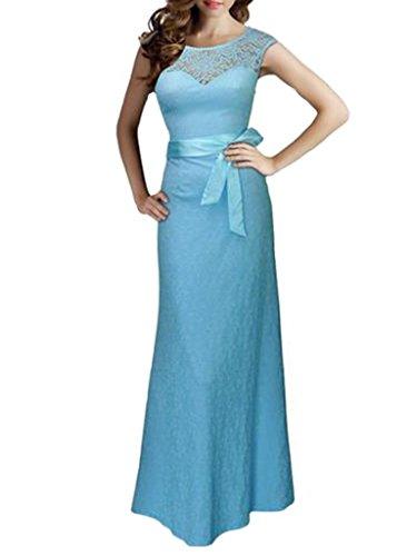 Dressray Women's Elegant Sleeveless Halter Black Lace Bridesmaid Maxi Dress S Light Blue (Long Light Blue Dresses For Women compare prices)