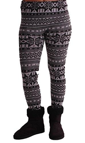 EyeCatch TM - Womens Nordic Style Cozy Warm Sweater Knit Leggings One Size