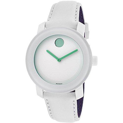 Movado 3600154 - Reloj unisex, correa de piel de borrego color blanco