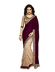 Temptingg Fashions Brown Chiffon & Beige Net Brasso Embroidery And Lace Border Saree