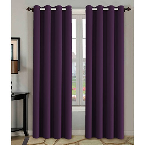 H.Versailtex Blackout Room Darkening Curtains Window Panel Drapes - (Plum Purple Color) 2 Panels, 52 inch wide by 84 inch long each panel, 8 Grommets / Rings per Panel (Color Drapes compare prices)