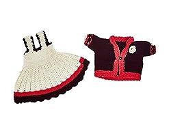 Mayra Knits Baby Girl Wool Dress & Jacket Set_MKGD07_White & Red_2 to 3 years
