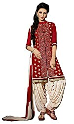 Sanchey Women's Georgette Unstitched Dress Material (754606_Royal Red_Free Size)