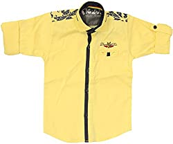 CAY 100% Cotton Yellow Color Button Down Shirt (Size:S)