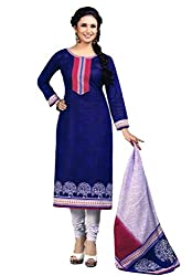 Salwar Studio Womens Cotton Unstitched Salwar Suit Dress Material (Sp-717 _Navy Blue & White _Free Size)