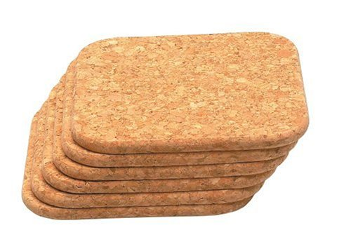 T&G Set X 6 Square Coasters In Natural Cork. 8X8Cm