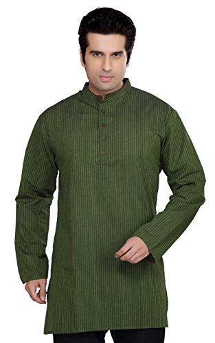 Indian Clothing Men's Kurta Tunic Banded Collar Multi-Stripe Shirt