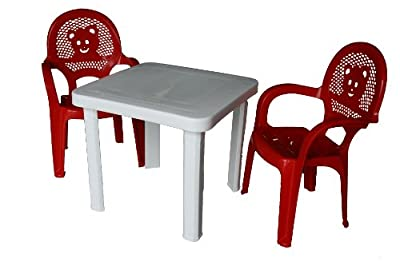 Resol Childrens Kids Garden Outdoor Plastic Chairs & Table Set- Red Chairs, White Table - Childs Furniture (Pack of 2 Chairs & 1 Table)