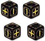 41h0X3RZraL. SL160  Q Workshop: Set of 4   Carved Ancient Fudge d6 Black & Yellow Fudge Dice