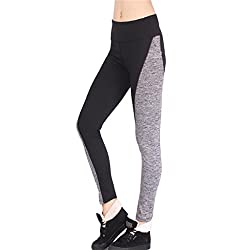 Imported Elatstic Waist Color Block Skinny Yoga Pants Leggings for Women Black XL