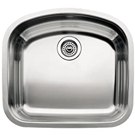 Blanco BL440249 Platinum Series BlancoWave 10-Inch Undermount Deep Single Bowl, Satin Polished