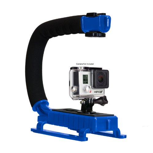 Opteka X-Grip Professional Action Stabilizing Handle Specifically Made For Gopro Hd Hero3 3+ With Accessory Shoe For Flash, Mic, Or Video Light (Blue)