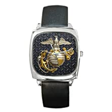 buy Unique Design United States Marine Corps (Usmc) Square Unisex Silver-Tone High Quality Barrel Style Watch.