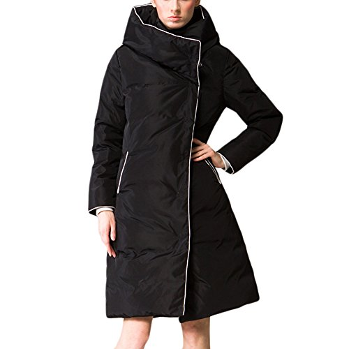 Mcitymall77 Elegante Cappotti Donna Piumino Manica Spesso Con Cappuccio da Donna Giubbino Imbottito Invernale Calda Giacca Nero L