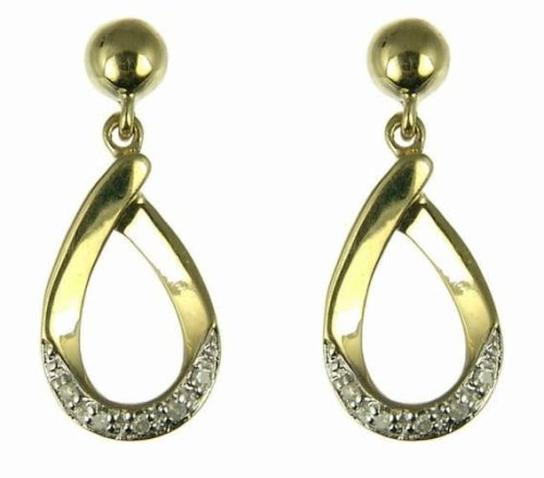 9ct Yellow Gold Ladies 5 Point Diamond Teardrop Dropper Earrings