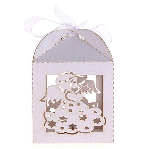 Lot de 50pcs Boîte à Dragées Bonbonnière Motif Ange avec Ruban pour Baptême Mariage (Blanc)