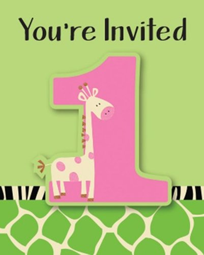 Creative Converting Wild at One Giraffe Party Invitations, 8-Count