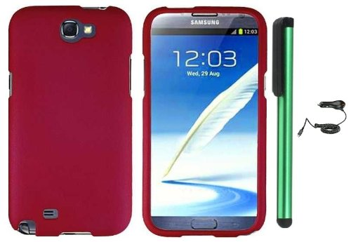 =>>  Rose Hot pink Design Protector Hard Cover Case for Samsung Galaxy Note II N7100 (AT&T, Verizon, T-Mobile, Sprint, U.S. Cellular) Android Smart Phone + Luxmo Brand Car Charger + Combination 1 of New Metal Stylus Touch Screen Pen (4