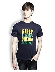 TOMO Men Navy Blue Sleep Less Dream More Printed Tshirt