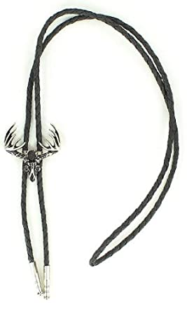 Western Men's Deer Skull Bolo Tie Silver One Size at Amazon Men