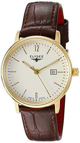 Elysee Sithon Lady Femme 32mm Marron Cuir Bracelet Date Montre 13286