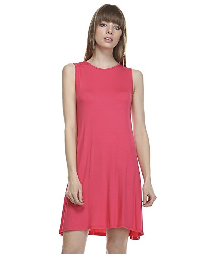 TODAY SHOWROOM Womens Fashion Premium Fabric A-line Swing Dress (LARGE, CORAL) (Teenager Dress Form compare prices)
