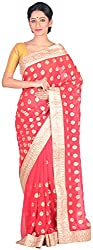 Sree Howrah Stores Women's Georgette Saree with Blouse Piece (Strawberry Red)