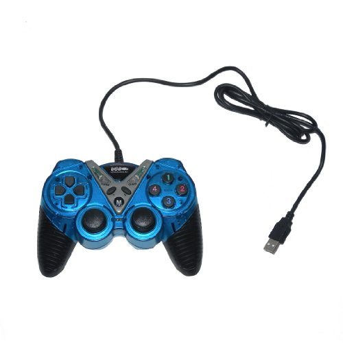 USB Double Dual Shock Joypad Game & Computer Controller - Blue & Black