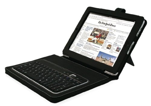 Bluetooth Keyboard (Easy Use Keyboard with iPad Case) for iPad 1, iPad 2, iPad 3, iPhone 3, iPhone 4, iPhone 4S, iPod Touch, Smartphone, Mac  &  PC (One charge lasts for one month!)
