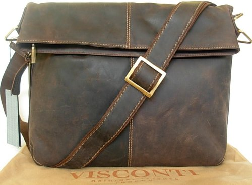 New Visconti large unisex brown expandable leather messenger bag 18762