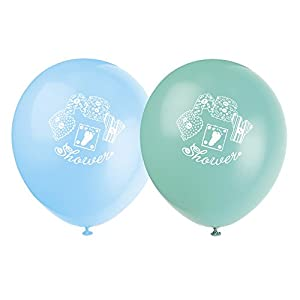 Stitching 8 Count Latex Balloons, 12-Inch, Blue, Green and Yellow
