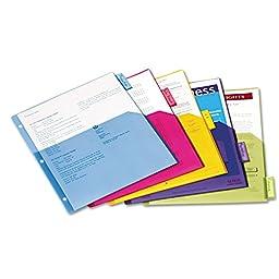 Poly 1-Pocket Index Dividers, Letter, Assorted, 5-Tabs/Set, 4 Sets/Pack