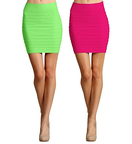 Women's Seamless Bandage Bodycon Mini Stretchy Pencil Skirt available in many colors.