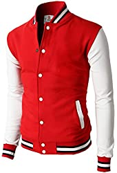 H2H Mens Slim Fit Cotton Varsity Baseball Bomber Jacket Of Various Styles