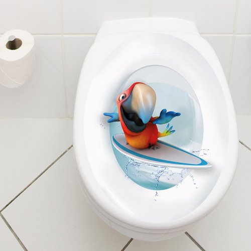 Wandkings Toilet Lid Decal Surfing Parrot 11 8 X 15 7 Inch Hardw