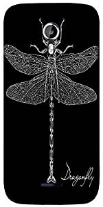 Snoogg detailed dragonfly vector Designer Protective Back Case Cover For Micromax A117