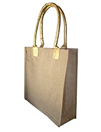 Foonty Golden Handle Jute Bag