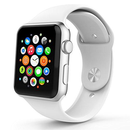 Apple Watch バンド - ATiC Apple Watch 42mm 2015専用 ヘッダー一体型 ソフト 高級 シリコーン製腕時計ストラップ/バンド 交換ベルト WHITE [3本 予備ストラップを含む ] (Apple Watch 38mm 2015に適応できない)