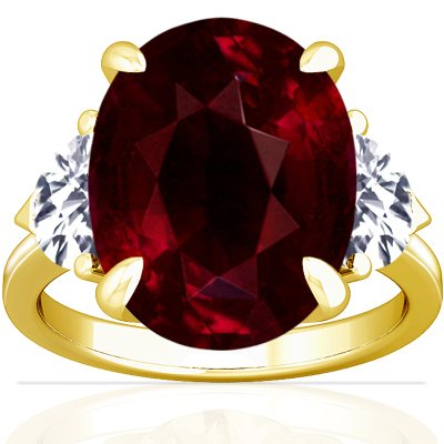 14K Yellow Gold Oval Cut Ruby Three Stone Ring
