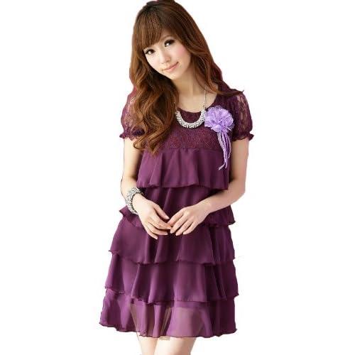 (アンフィニ) infini ドレスワンピース 赤 紫 黒 LL 3L 4L 5L 大きいサイズ 結婚式 (LL(XL), 紫(パープル))