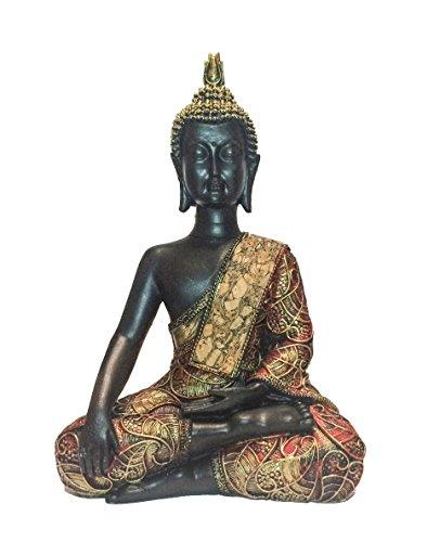 Buddha-Figur in Gold, 21 cm hoch | vergoldete Statue, betend ...